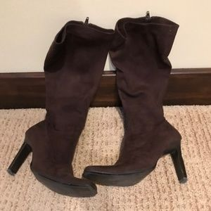 Brown Suede High Heeled Boots